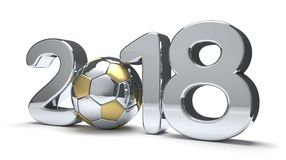 2018 with a soccer football ball isolated 3d rendering. Design Royalty Free Stock Images