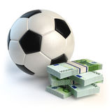 Soccer or football ball and packs of euro  on white. Spo Royalty Free Stock Photo