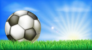 Soccer football ball on pitch Royalty Free Stock Photos