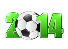 2014 soccer or football ball sign illustration. Design over white Stock Photo