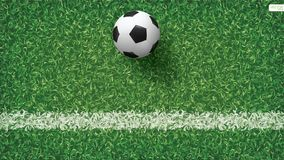 Soccer football ball in soccer field pattern and texture background. Vector illustration Royalty Free Stock Images