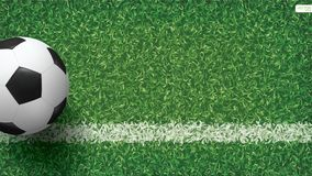 Soccer football ball in soccer field pattern and texture background. Vector illustration Stock Photo