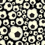 Soccer and football balls dark seamless vector pattern eps10 Stock Image