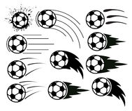 Soccer and football balls, vector  Stock Photos