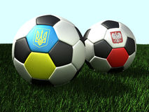 Soccer (football) balls on grass, 3d illustration. Soccer (football) balls on grass - with flags of Ukraine and Poland. 3d illustration Stock Photography