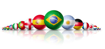 Soccer football balls group with teams flags Stock Photos