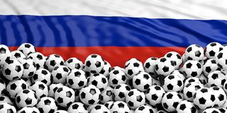 Soccer football balls heap on waving Russia flag. Soccer football balls pile on waving Russian flag background. 3d illustration Royalty Free Stock Photo