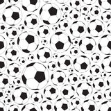 Soccer and football balls seamless black and white pattern Royalty Free Stock Photo
