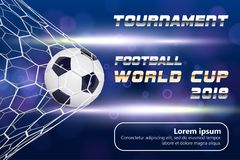 Soccer or Football Banner With 3d Ball on blue background. Soccer game match goal moment with ball in the net and place. For text Stock Image