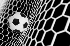 Soccer or Football Banner With 3d Ballon black background. Soccer game match design of goal moment with realistic ball. In the net. Football background. 3d Stock Photography