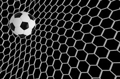 Soccer or Football Banner With 3d Ballon black background. Soccer game match design of goal moment with realistic ball. In the net. Football background. 3d Stock Photos