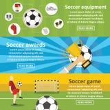 Soccer Football Banner Horizontal Set, Flat Style Stock Images