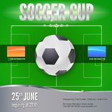 Soccer, football banner. Template for game tournament. Soccer ball above green field, top view. Sport events design for Royalty Free Stock Photos