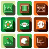 Soccer football and basket ball icon set Royalty Free Stock Photos