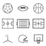 Soccer football and basket ball line Illustration set Stock Photography