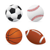Soccer, Football, Basketball and Baseball Stock Photo