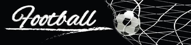 Soccer or Football Black Banner With 3d Ball. In the Net and Scoreboard on black Background Stock Photography
