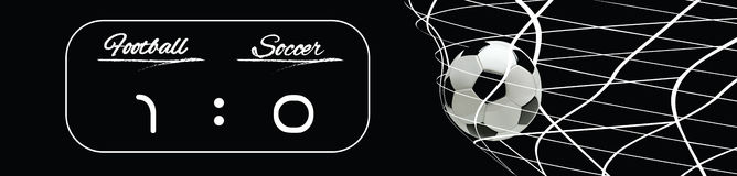 Soccer or Football Black Banner With 3d Ball in the Net and Scoreboard on black Background. Soccer or Football Black Banner With 3d Ball in the Net and Royalty Free Stock Photo