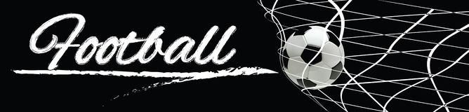 Soccer or Football Black Banner With 3d Ball in the Net and Scoreboard on black Background. Soccer or Football Black Banner With 3d Ball in the Net and Stock Photography