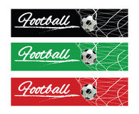 Soccer or Football Black Banner With 3d Ball in the Net and Scoreboard on Green and black Background. Soccer or Football Black Banner With 3d Ball in the Net Stock Photo