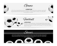 Soccer or Football Black Banner With 3d Ball and Scoreboard.  Stock Photo