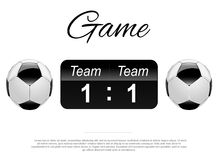 Soccer or Football Black Banner With 3d Ball and Scoreboard.  Stock Photos