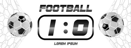Soccer or Football Black Banner With 3d Ball and Scoreboard on white background. Soccer game match goal moment with ball Royalty Free Stock Photo