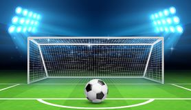 Soccer football championship vector background with sports ball and goals. Penalty kick concept. Gate soccer and ball on stadium illustration Royalty Free Stock Images