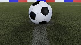 Soccer / football classic ball in the center of the field grass with depth of field defocused, 3D illustration Royalty Free Stock Images