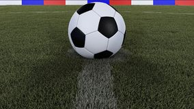 Soccer / football classic ball in the center of the field grass with focus on the whole field, 3D illustration Stock Photo