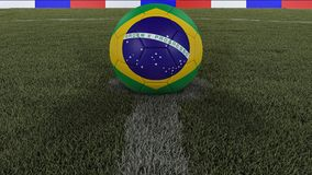 Soccer / football classic ball in the center of the field grass with painting of the Brazil flag with focus on the whole field, 3D. Soccer / football classic Stock Image