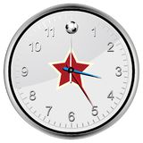 Soccer football clock with red star Royalty Free Stock Images