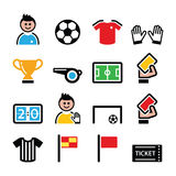 Soccer or football colorful  icons set Royalty Free Stock Image