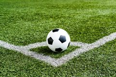 Soccer Football on Corner kick line. Of ball and a soccer field , football field , background texture Royalty Free Stock Images