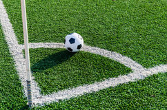 Soccer Football on Corner line for Corner kick. Royalty Free Stock Photography