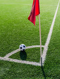 Soccer Football on Corner line for Corner kick. Stock Photo