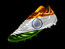 Soccer football cricket boot with the flag of India printed on i. T, isolated on dark background, vector illustration 3d, 3 dimension, print, design vector illustration