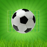 Soccer or Football 3d Ball on green background. Soccer or Football 3d Ball on green background Royalty Free Stock Photos