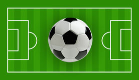 Soccer or Football 3d Ball on green field, Vector illustration. Soccer or Football 3d Ball on green field. Vector illustration Royalty Free Stock Images