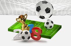 2018 soccer football 3D illustration. Design Royalty Free Stock Photos