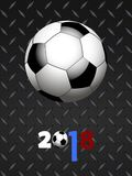 Soccer football and decorated 2018 over black metallic panel Royalty Free Stock Photography