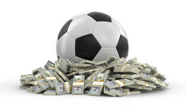 Soccer football with dollars Royalty Free Stock Image