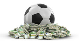 Soccer football with euros Royalty Free Stock Photography