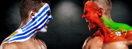 Soccer or football fan with bodyart on face with agression - flag of Uruguay vs Portugal. Football of fan are cheering for their team victory stock images