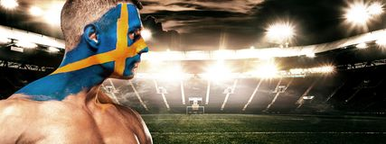 Soccer or football fan on stadium with bodyart on face - flag of Sverige. Soccer or football fan with bodyart on face on stadium. Russia 2018 Stock Image