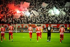 Soccer or football fans using pyrotechnics Stock Photography