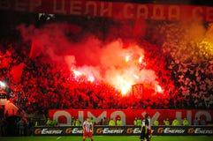 Soccer or football fans using pyrotechnics Stock Photos