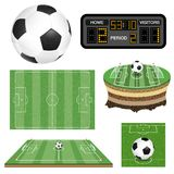 Soccer Football Field, Ball and Scoreboard. Set soccer football field with ball, scoreboard, flag, and goal. Realistic and flat icons. Isolated vector Stock Photo