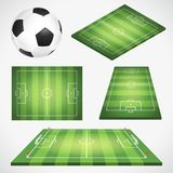 Soccer Football Field and Ball. Set soccer football field with ball, flag and goal. Realistic, flat and isometric soccer icons. Isolated vector illustration Royalty Free Stock Photo