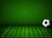 Soccer or football field with ball side view Royalty Free Stock Photo